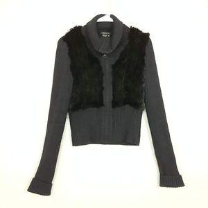BCBG Wool Blend Zip Cardigan Rabbit Fur Trim #K23